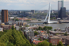 Erasmusbrug 1, rechtsachter de Maastoren, hoogste gebouw van Nederland (165m)