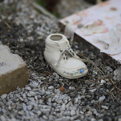 Baby Shoe left at a grave site