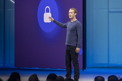 Facebook CEO Mark Zuckerberg delivers keynote speech at McEnery Convention Center on May 1, 2018 in San Jose, California, United States. (Photo by Yichuan Cao/Sipa USA)