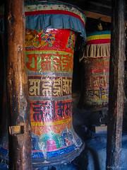 Prayer wheels in Braka. Annapurna Circuit, Nepal 2007