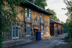 Wooden houses in Kemerovo city