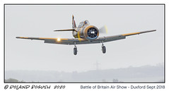 North American T6 Harvard about to land in the rain