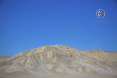 A motorcycle races up a sand dune in the desert.