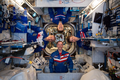 Four Expedition 59 astronauts pose for a playful portrait