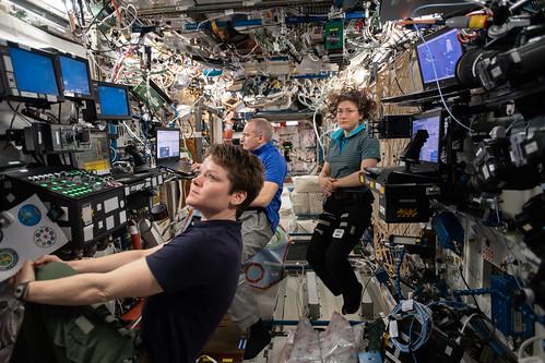 Expedition 59 crew members inside the U.S. Destiny laboratory