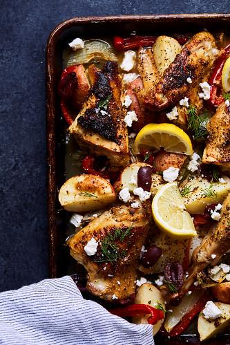 Sheet Pan Greek Chicken Souvlaki with Veggies {Paleo, Keto, Whole30}