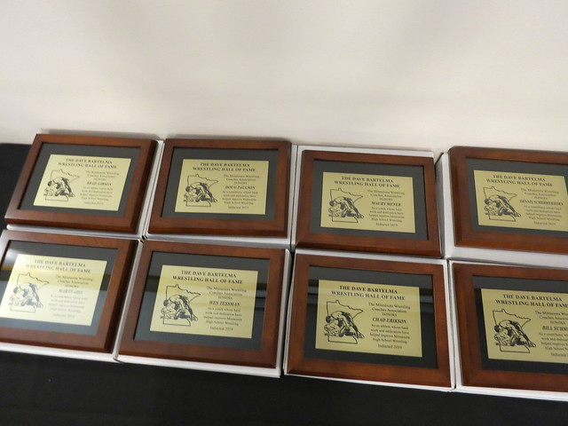 2019 Minnesota Wrestling Coaches Association Dave Bartelma Hall of Fame Banquet Inductee Plaques. 190504AJF0841