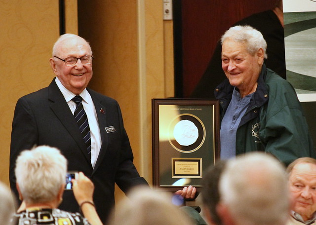 2019 National Wrestling Hall of Fame, Minnesota Chapter Lifetime Service inductee Paul Bengston with Hall of Fame Coach Roy Minter. 190427AJF0040