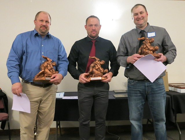 MWCA State Coaches of the Year - Robb Moser of Perham (Class AA), Joe Kunshier of Forest Lake (Class AAA), and Jake Lorentz of LPGE/Browerville (Class A). 190504AJF0850