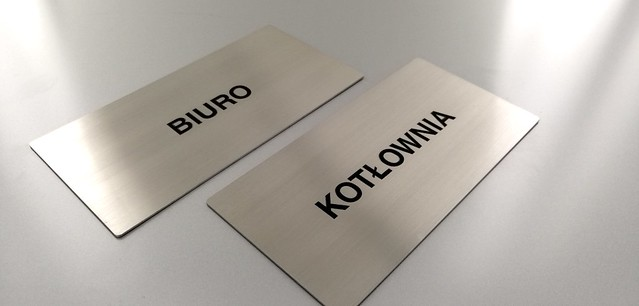 tabliczka ze stali nierdzewnej, grawerowana z emalią, oznaczenie biura (2)