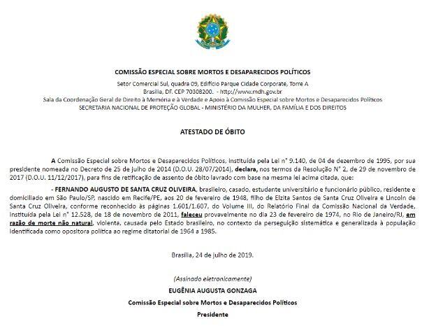 48409392612 b78b679074 o - Ministério de Damares desmente Bolsonaro: Santa Cruz foi assassinado pela ditadura