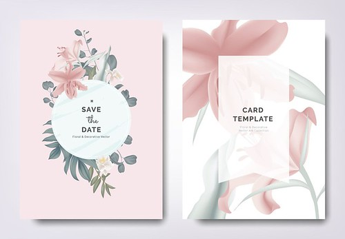 Botanical wedding invitation card template design, pink lily flowers and leaves with circle frame on pink background, vintage style - Popular Inspiration — Designspiration