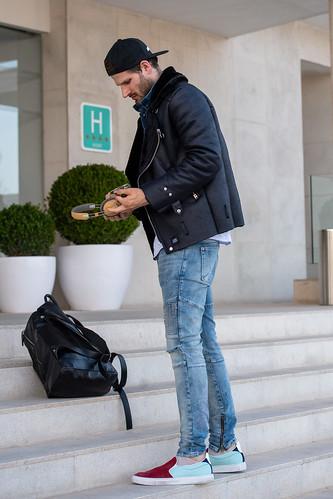 20190428 Influenca und model David Koch am Flughafen Palma de Mallorca