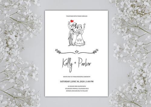 Wedding invitation template with hand draw wedding couple