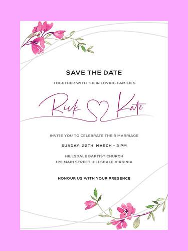Engagement Invitation Card. Flower rose. leaves. Wedding ornament concept. RSVP Design.