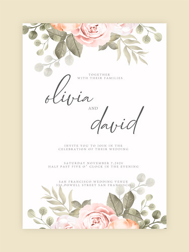 Wedding Invitation, floral invite card Design. Floral fold wedding invitation card template with colorful flower bouquet. RSVP Card.