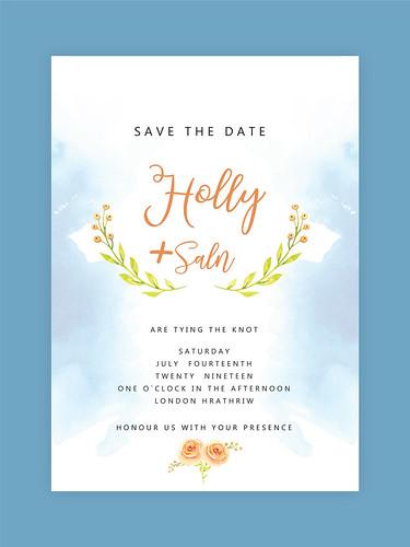 Watercolor floral Invitation Card. Wedding Invitation, floral invite, rsvp modern Design branches decorative wreath & frame pattern. Vector elegant watercolor rustic template