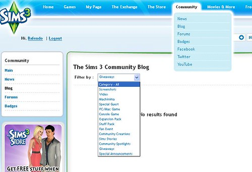 New Community Feature on thesims3.com