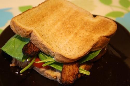 Tempeh, Spinach, Tomato sandwich