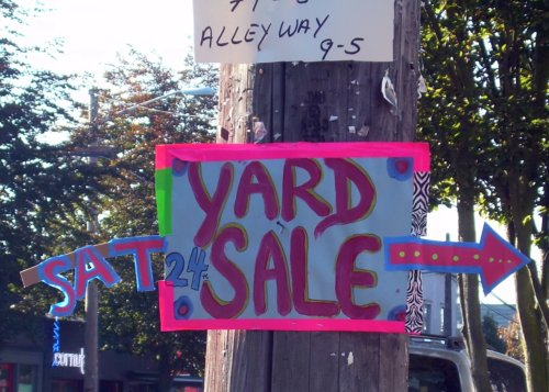 Festive yard sale sign