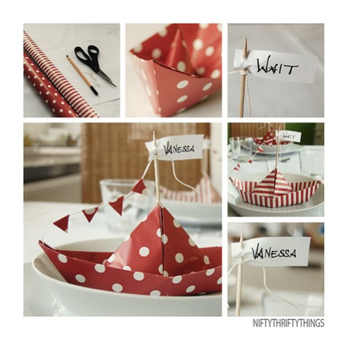 {paper boats place cards}