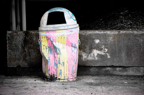 Striped Trash Can