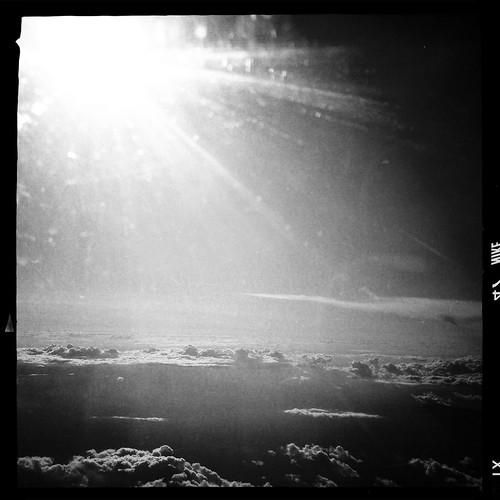 Sky, sun, clouds, faraway lakes