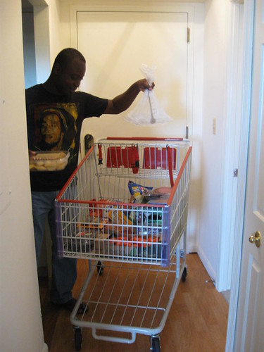 Costco cart inside the apartmeent