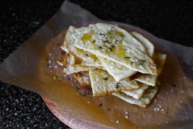 mahon flatbread, thyme, honey