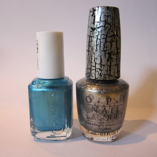 OPI in Silver Shatter & Essie in Beach Bum Blu