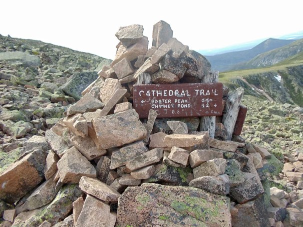 The Cathedral Trail sign a half mile from Katahdin's Baxter Peak.