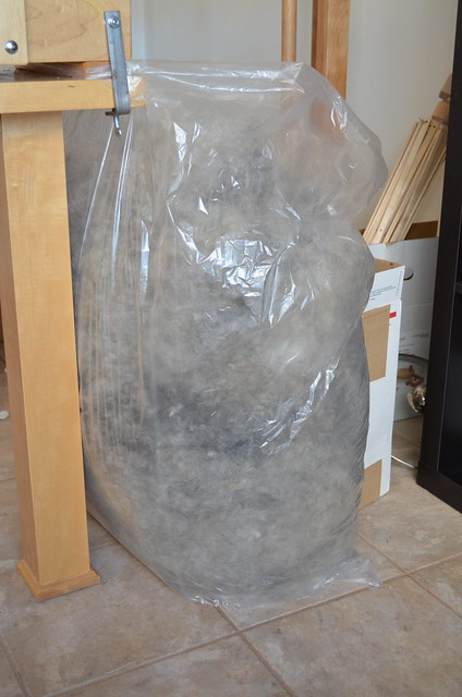 fluff in garbage bag