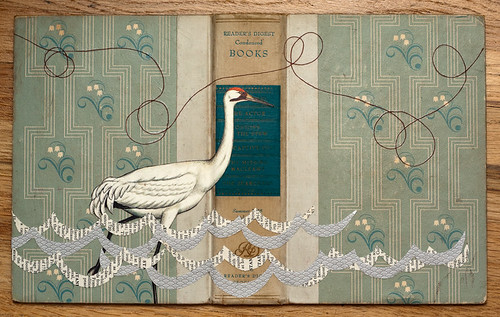Upcycled Collage: Crane & book cover