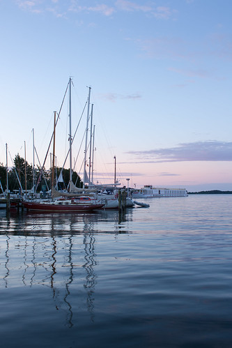 sunset in lauterbach harbour