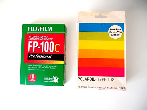 Both pack film can be used for Polaroid series 100-400, however, the original Polaroid film are very difficult to find now.