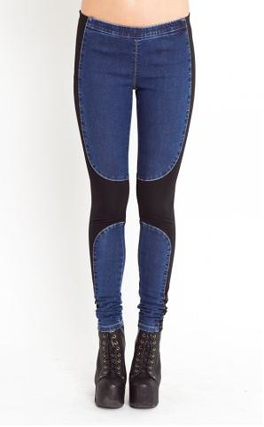 nastygal denim chap leggings