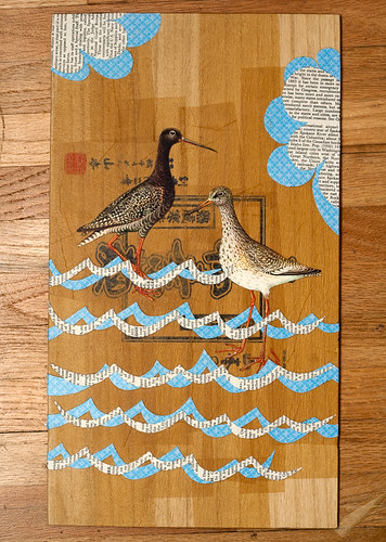 Upcycled Collage- wading birds