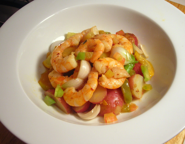 Summer vegetable salad (new potatoes, sugar snap peas, heirloom tomatoes, summer squash) with gambas al ajillo and quick-pickled young onions
