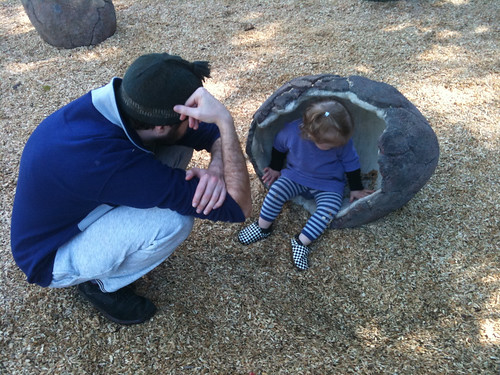 Playing in a dragon egg at New Farm Park, Brisbane