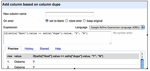 Google refine - compare two columns