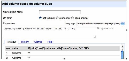 Google refine - compare two columns
