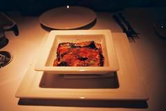 La Parmigiana di Melanzane, Mozzarella e Pesto di basilico (Oven-baked Eggplant, Tomato and Mozzarella, Served with Basil Pesto), La Barca Ristorante & Wine Bar