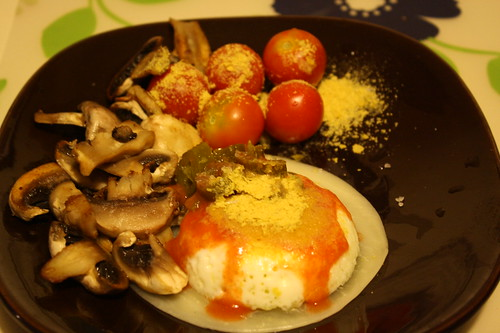 poached egg, mushrooms, tomatoes, nutritional yeast, jalapenos, cheese