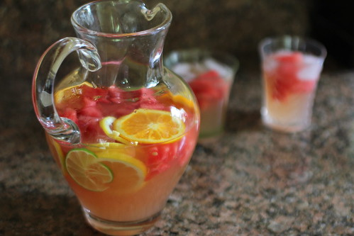watermelon and citrus floating in pitcher