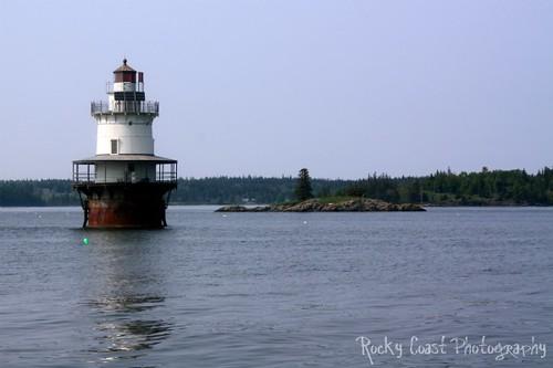 Spark plug lighthouse on the Maine Coast