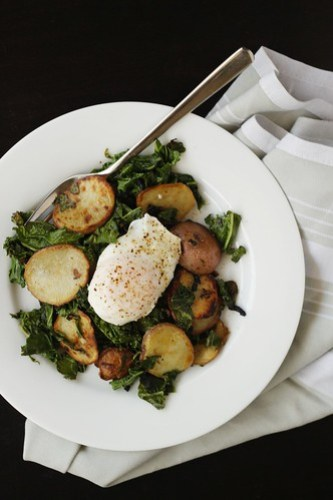 kale, potatoes, and eggs