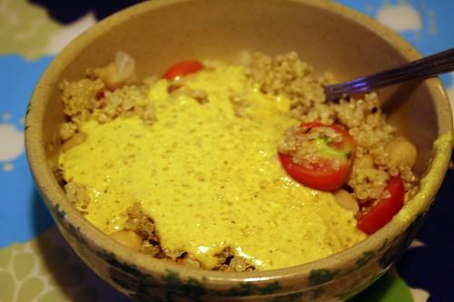 Mmmm sauce, quinoa, tomatoes, chickpeas