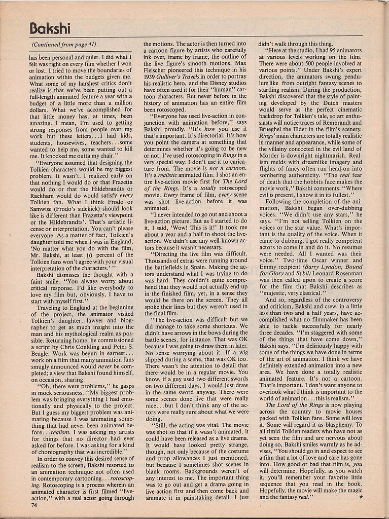 Ralph Bakshi interview by Ed Naha - Starlog, 1979