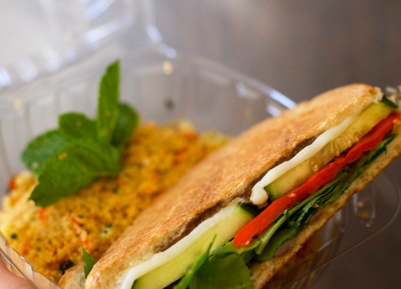 More than your average snack: veggie panini and couscous from Rush Snack Bar.