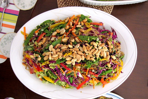 Glass noodle salad with a ton of veggies and Thai peanut sauce